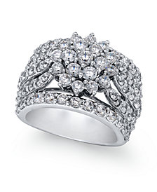 Diamond Wide Floral Cluster Ring (4 ct. t.w.) in 14k White Gold