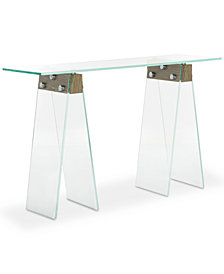 Modern Industrial Glass Console Table, Quick Ship