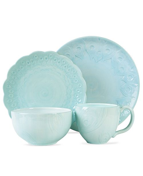 Edie Rose by Rachel Bilson CLOSEOUT! Dinnerware, Peacock Feather 4 Piece Place Setting