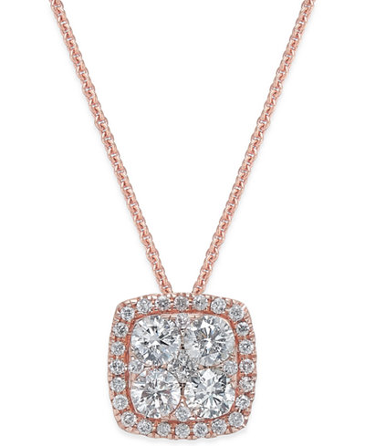 Diamond Cluster Halo Pendant Necklace (7/8 ct. t.w.) in 14k Rose Gold
