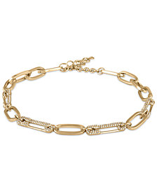 RACHEL Rachel Roy Gold-Tone Pavé Safety Pin Link Necklace
