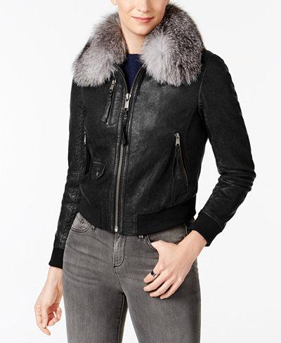 Andrew Marc Fox-Fur Collar Leather Moto Jacket - Coats - Women ...