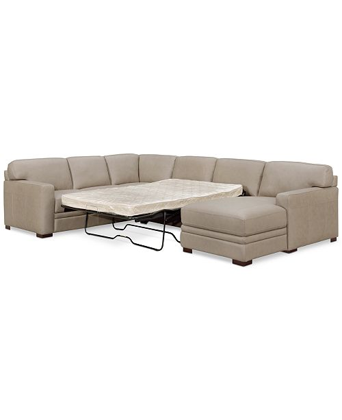 Furniture Avenell 3 Pc Leather Sectional With Full Sleeper Sofa Chaise Created For Macy S