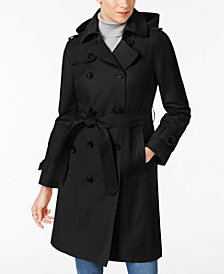 London Fog Petite Double-Breasted Trench Coat