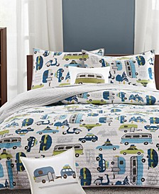 Road Trip Reversible Quilted Coverlet Sets