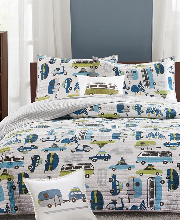 INK+IVY Road Trip Reversible 3-Pc. Quilted Twin Coverlet Set