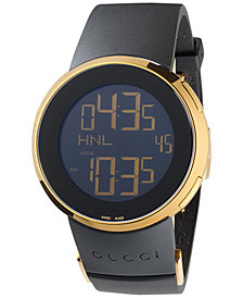 Gucci Men's Swiss Digital I-Gucci Black Rubber Strap Watch 44mm