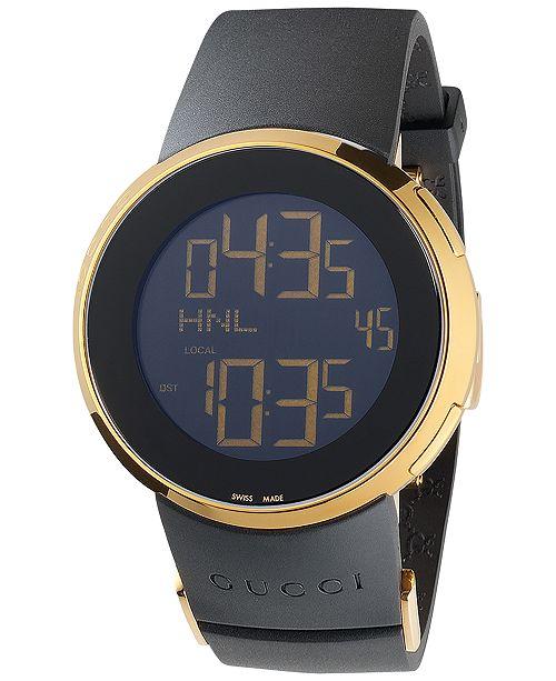 Gucci Men S Swiss Digital I Gucci Black Rubber Strap Watch