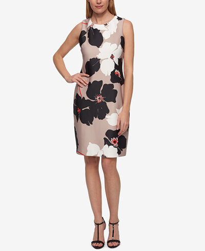 Fitted Floral Print Dress - Sales Up to -50% Tommy Hilfiger 2018 New Sale Online ofpDtK