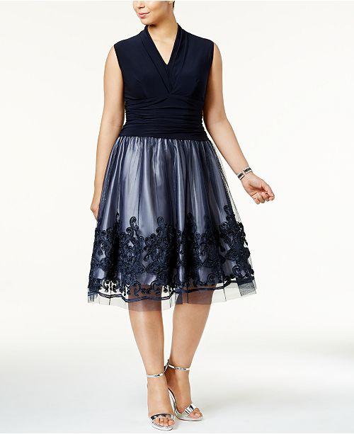 SL Fashions Plus Size Embellished Lace A-Line Dress