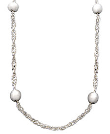"Giani Bernini Sterling Silver Necklace, 16-24"" Beaded Singapore Chain (5mm)"