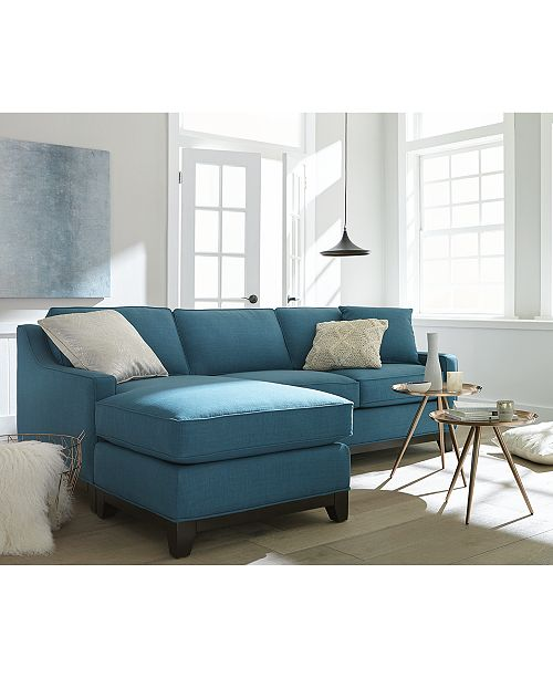Keegan 90 2-Piece Fabric Reversible Chaise Sectional Sofa