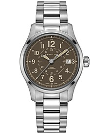 Men's Swiss Automatic Khaki Field Stainless Steel Bracelet Watch 40mm