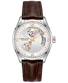 Hamilton Men's Swiss Automatic Jazzmaster Brown Leather Strap Watch 42mm