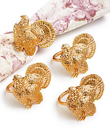 Martha Stewart Collection Harvest 4-Pc. Napkin Ring Set, Created for Macy's