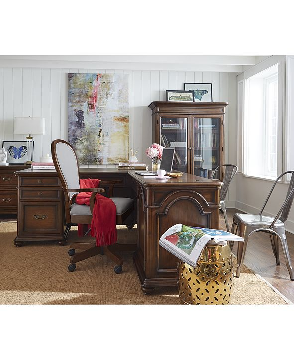 Furniture Clinton Hill Cherry Home Office Furniture, 3-Pc. Set (L-Shaped Desk, Lateral File Cabinet & Upholstered Desk Chair), Created for Macy's