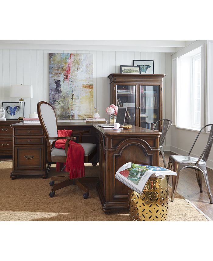 Furniture - Clinton Hill Cherry Home Office  Set, 2-Pc. Set (L-Shaped Desk & Upholstered Desk Chair), Only at Macy's