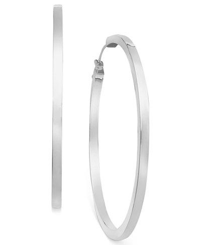 14k White Gold Earrings, Hoop