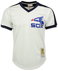 Mitchell & Ness Men's Carlton Fisk Chicago White Sox Authentic Mesh Batting Practice V-Neck Jersey