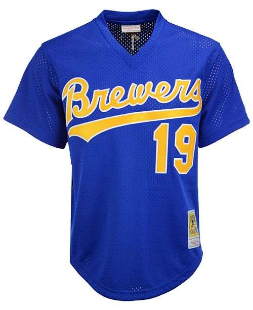54339a3e ... Mitchell & Ness Men's Robin Yount Milwaukee Brewers Authentic Mesh  Batting Practice V-Neck ...