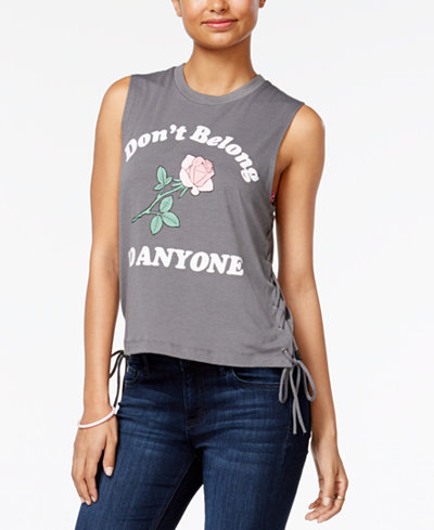 Love Tribe Juniors' Lace-Up Graphic Tank Top with Bracelet