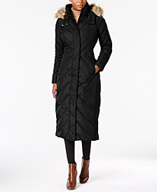 Larry Levine Faux-Fur-Trim Maxi Puffer Coat