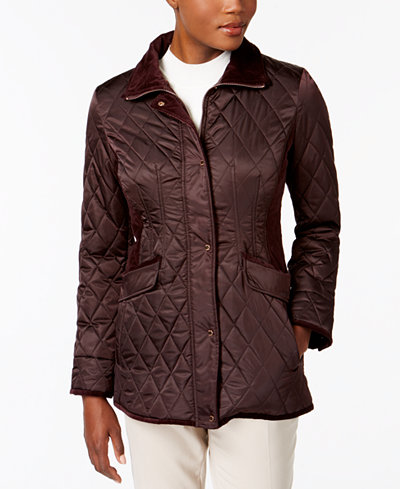 Vince Camuto Velvet-Trim Quilted Coat, A Macy's Exclusive - Coats ... : vince quilted jacket - Adamdwight.com