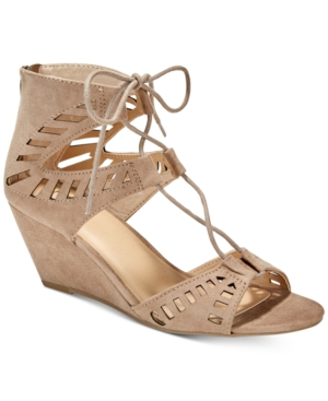 Material Girl Halona Perforated Wedge Sandals, Created for Macy