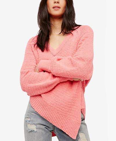 Free People West Coast Cotton Asymmetrical Sweater