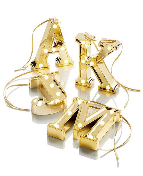 Light Up Marquee Initial Ornaments  - Macy's