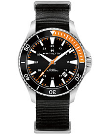 Hamilton Men's Swiss Automatic Khaki Navy Black Nato Fabric Strap Watch 40mm