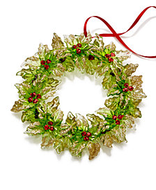 Holiday Lane Green Wreath with Berries Ornament, Created for Macy's