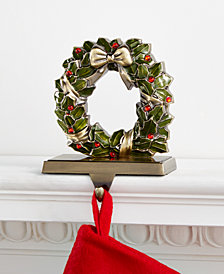 Holiday Lane Holly Wreath Stocking Holder, Created for Macy's