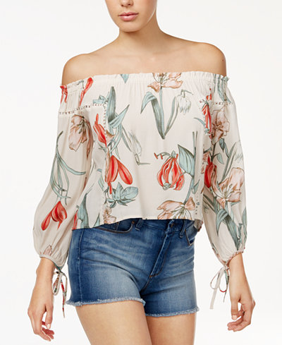 ASTR The Label Chavelle Printed Off-The-Shoulder Top