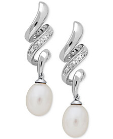 Cultured Freshwater Pearl (6 x 8mm) & Diamond Accent Drop Earrings in Sterling Silver
