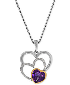 Amethyst (1-1/10 ct. t.w.) & Diamond Accent Triple Heart Pendant Necklace