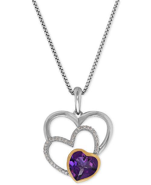 Macy's Amethyst (1-1/10 ct. t.w.) & Diamond Accent Triple Heart Pendant Necklace