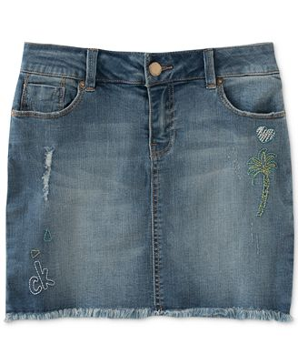 Calvin Klein Cut-Off Denim Skirt, Big Girls (7-16) - Skirts - Kids ...
