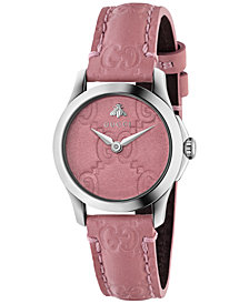 Gucci Women's Swiss G-Timeless Candy Pink Leather Strap Watch 27mm