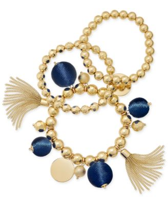 Image of INC International Concepts Gold-Tone 3-Pc. Set Beaded Tassel and Ball Stretch Bracelets, Created for