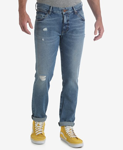 Wrangler Men's 70th Anniversary Collection Larston Slim Tapered Ripped Jeans