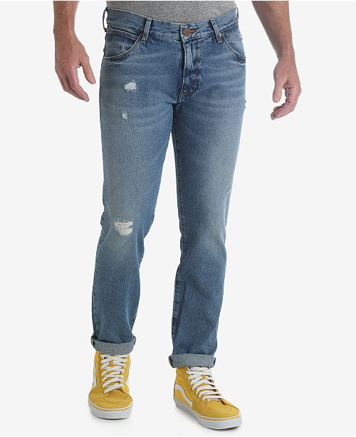 c43c8ba6d1a ... Wrangler Men s 70th Anniversary Collection Larston Slim Tapered Ripped  Jeans ...