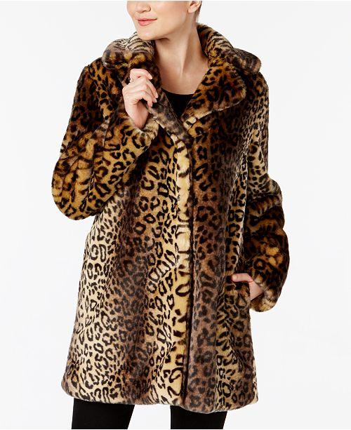 19d0b39dbb4d Laundry by Shelli Segal Leopard-Print Faux-Fur Coat & Reviews ...