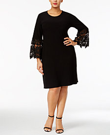 Alfani Plus Size Lace-Sleeve A-Line Dress, Created for Macy's