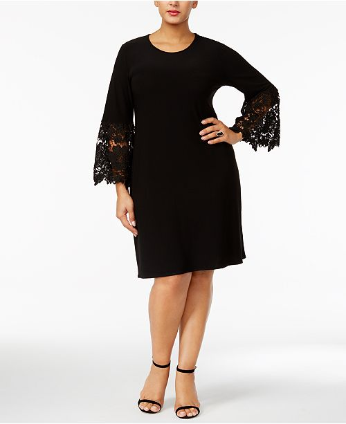 Alfani Plus Size Lace Sleeve A Line Dress Created For Macys