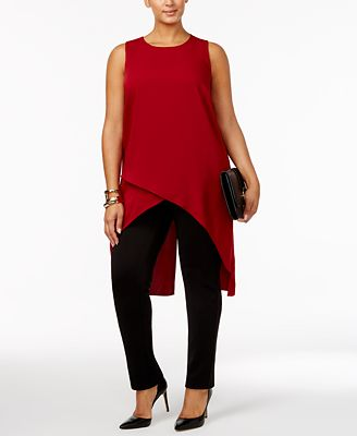 Alfani Plus Size High-Low Crossover Tunic, Created for Macy's
