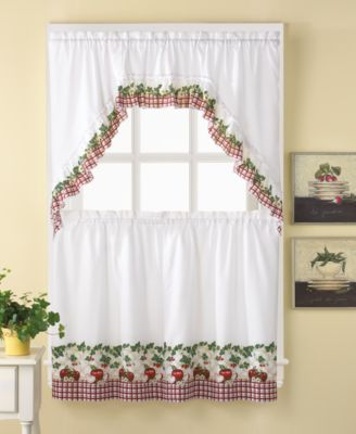 "Apple Blossom 36"" Window Tier & Swag Valance Set"