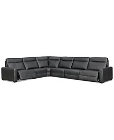 Marzia 6-Pc. Leather Sectional with 2 Power Recliners, Created for Macy's