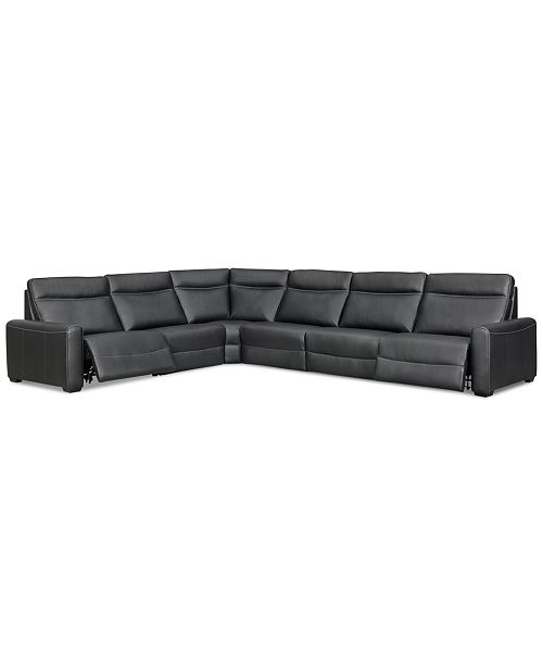 Furniture Marzia 6-Pc. Leather Sectional with 2 Power Recliners, Created for Macy's