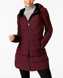 I.N.C. Velvet-Trim Puffer Coat, Created for Macy's